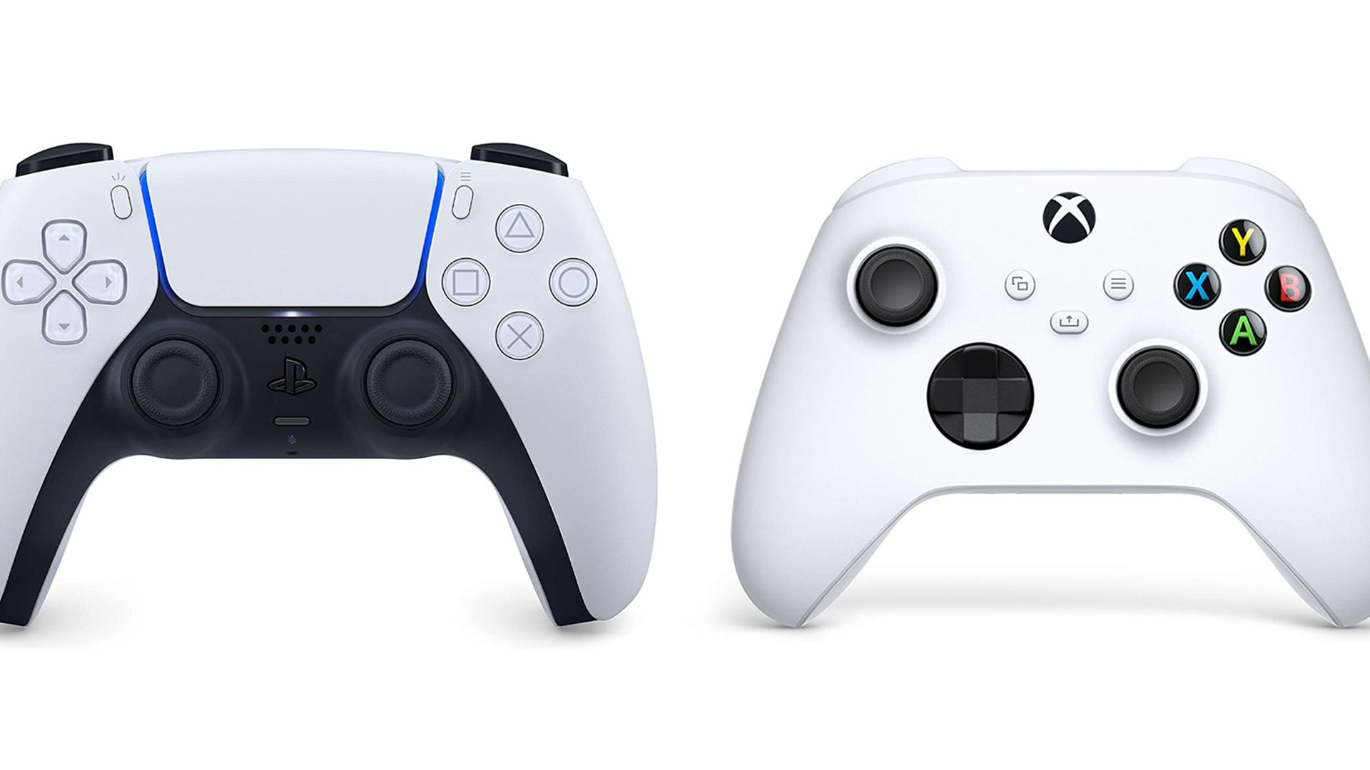 A photo of the PS5 and Xbox controllers.