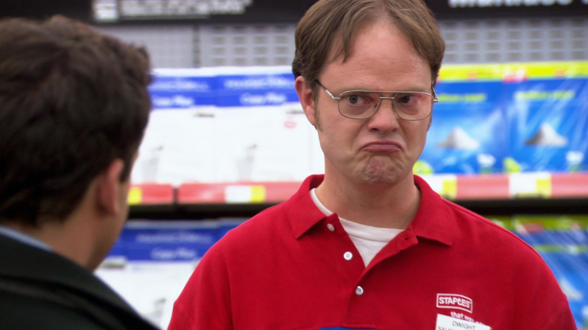 A photo of Dwight from 'The Office' making an upset face.