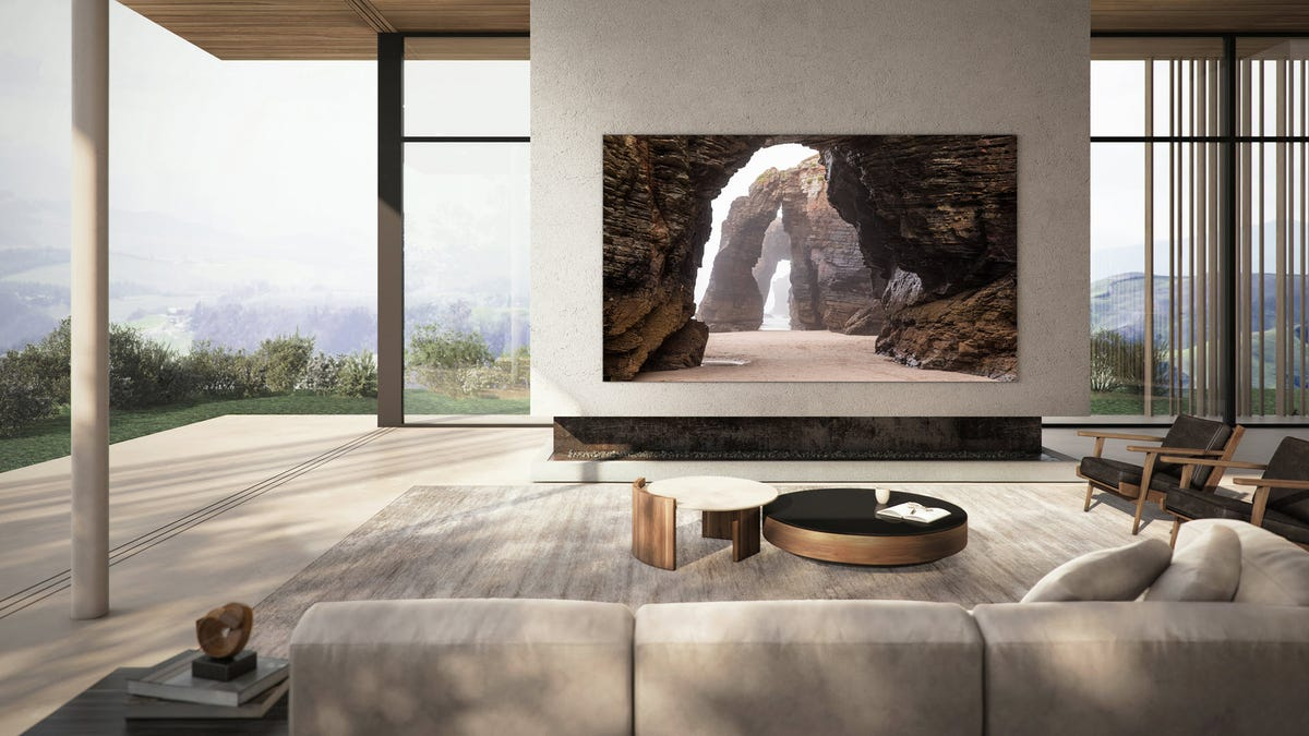 A large MicroLED TV in an outdoor living room.
