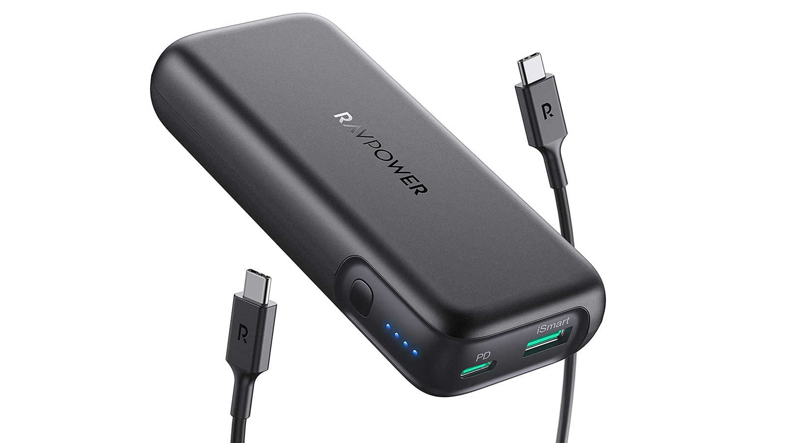 A photo of RAVPower's 10k mAh power bank and USB-C cable.