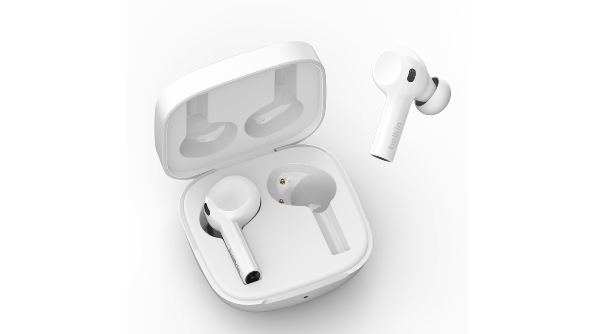 A photo of the Belkin Soundform Freedom wireless earbuds.