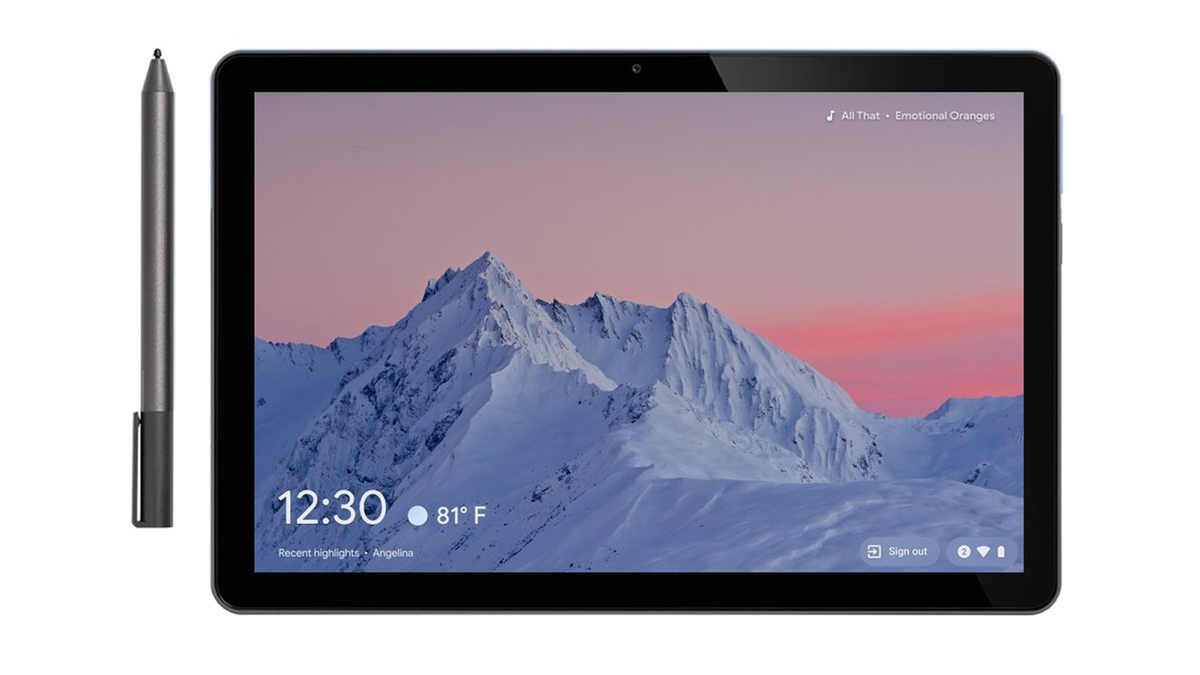 A Pixelbook with the new smart display screensaver.