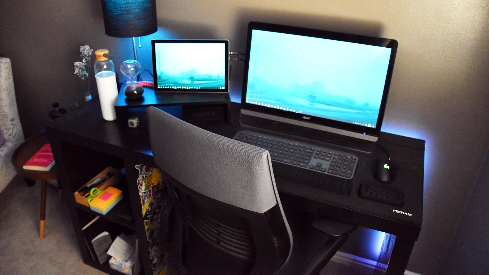 Suzanne's setup, with a Surface Pro and one monitor