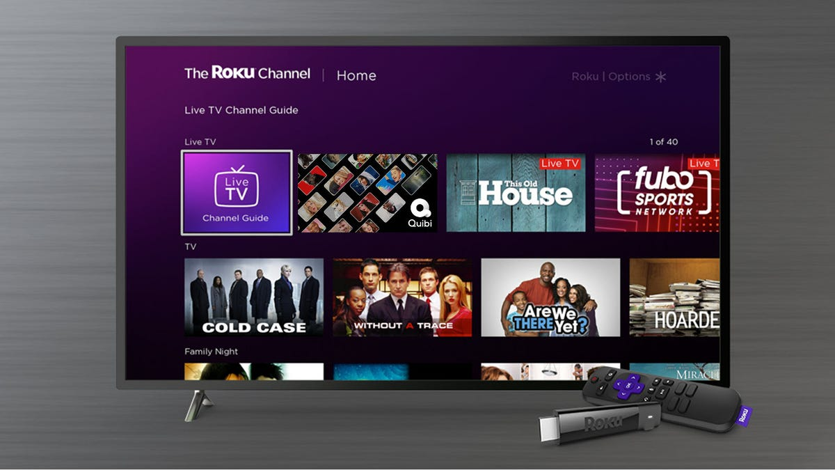 A Roku TV with Quibi content on it.