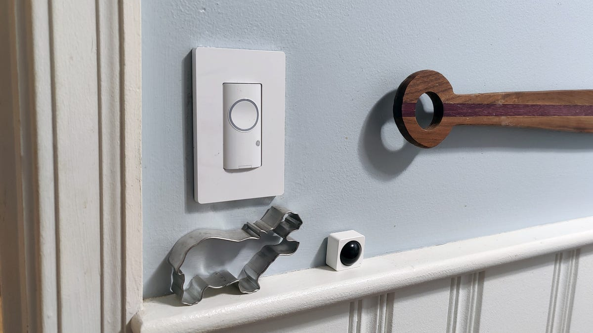 A Cync smart switch installed in a kitchen.