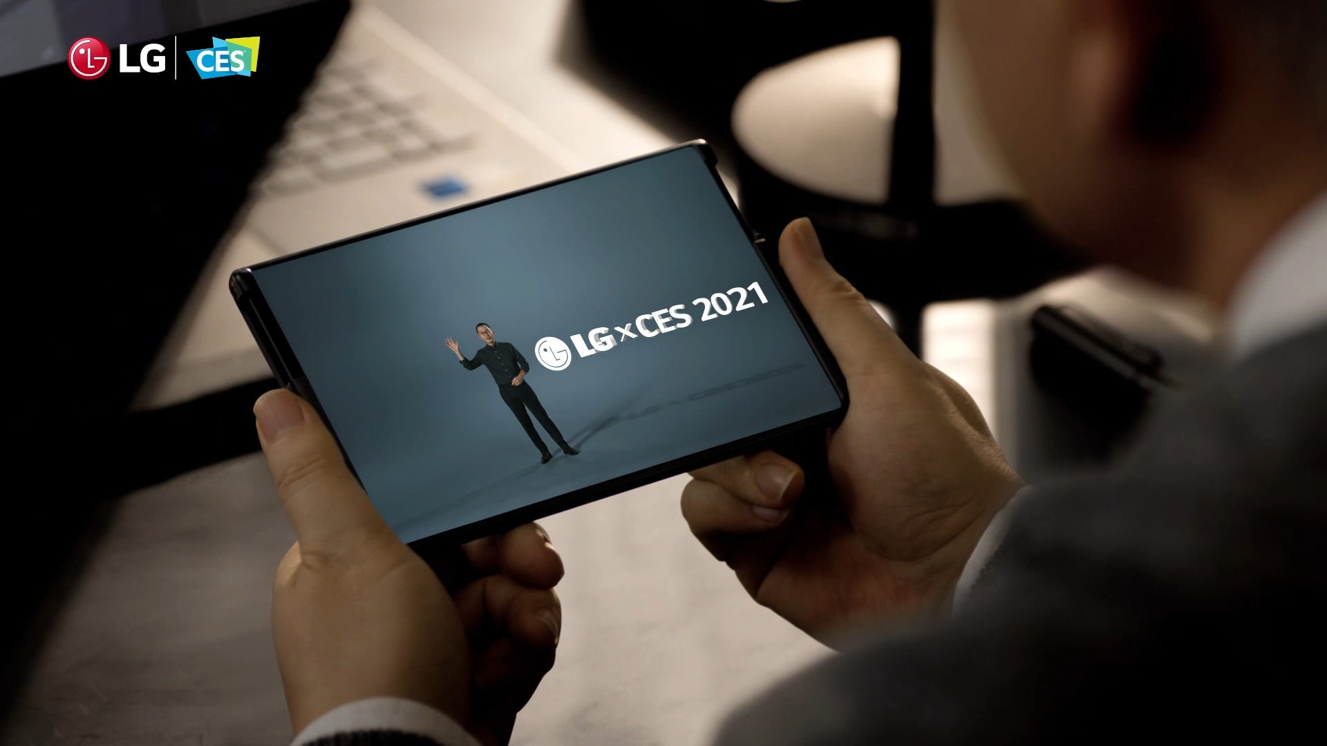 An LG phone rolled out to tablet size.