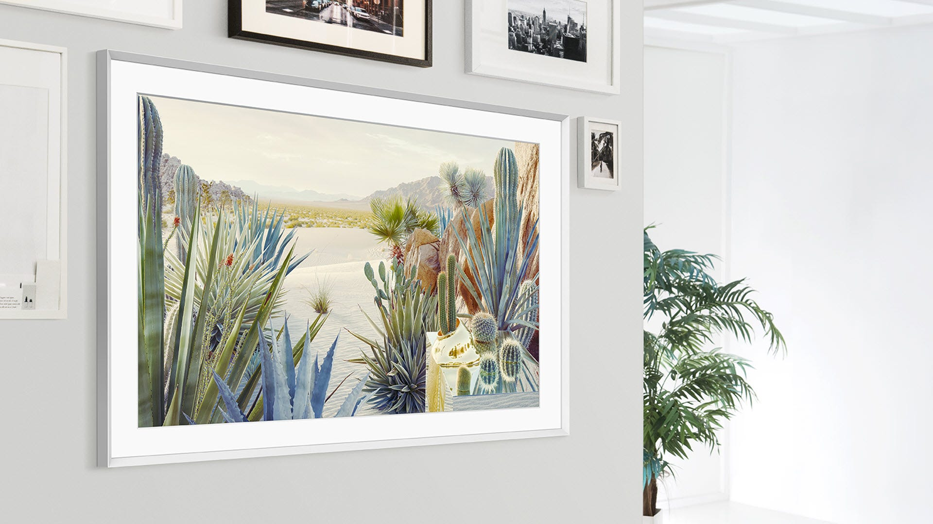 A TV that looks like art in a picture frame.