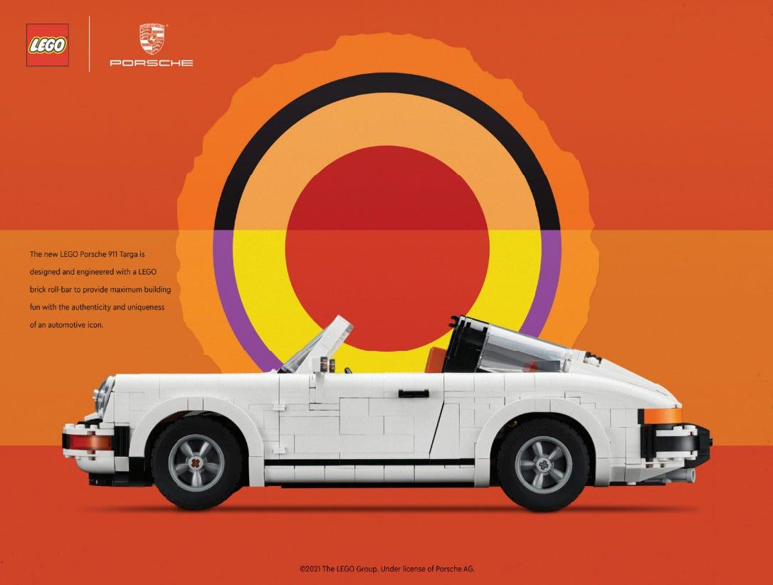 LEGO recreation of a classic Porsche ad