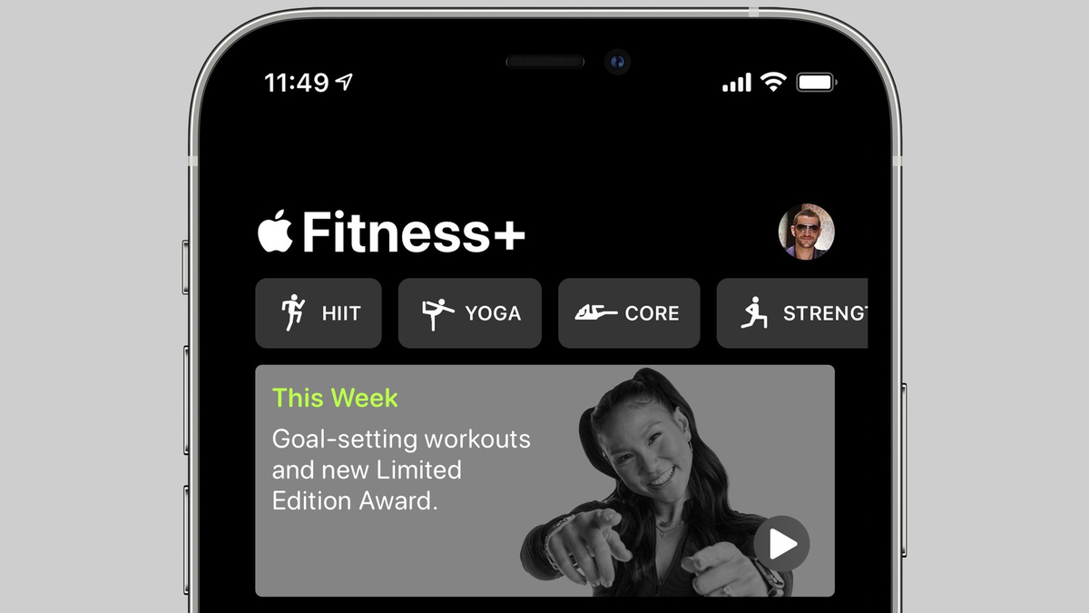 Apple Fitness+ app showing new goal-setting workouts introductory video