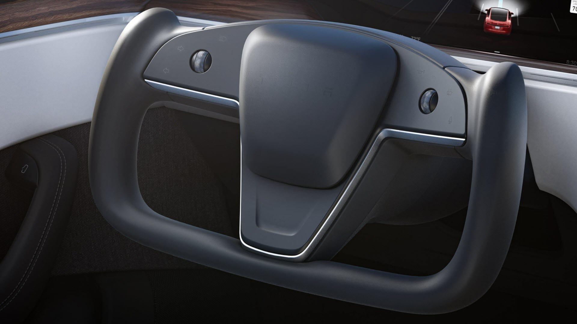 A butterfly-shaped steering wheel.