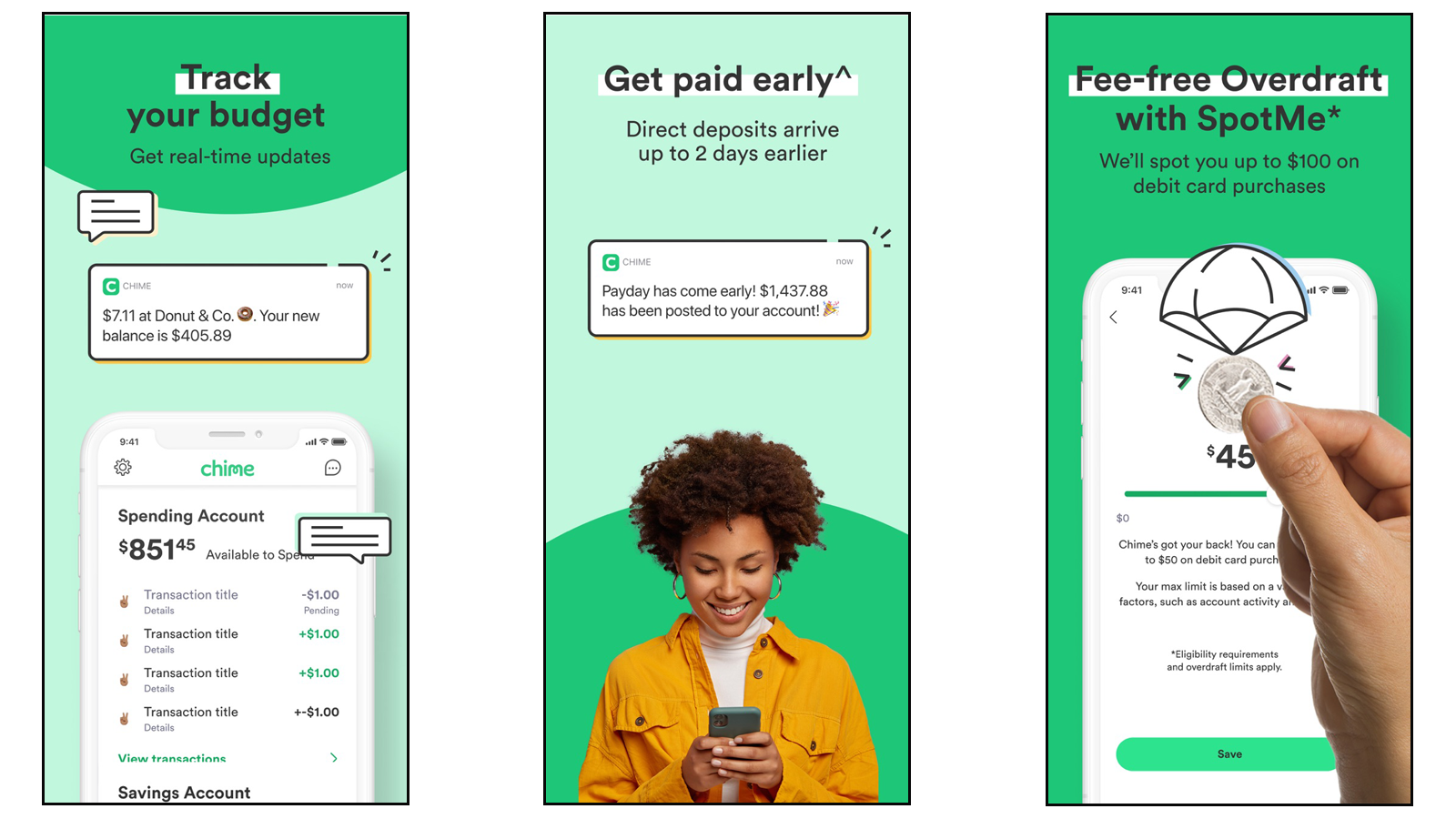 Chime app with early direct deposit and other options