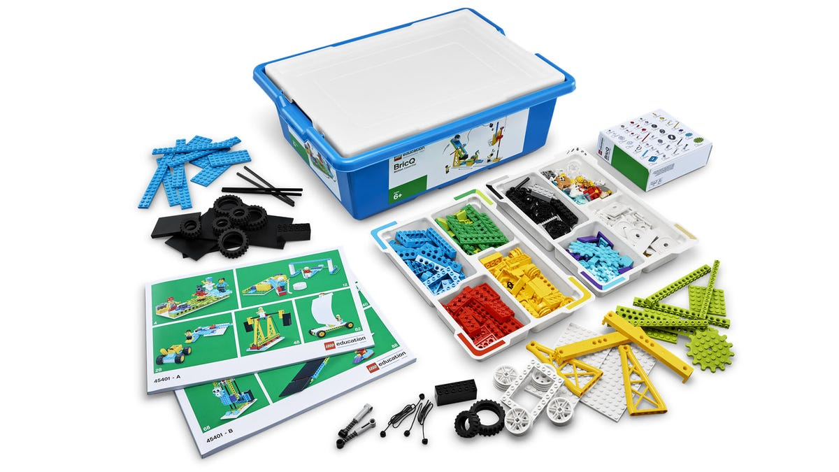 A LEGO steam set taken apart and laid out.