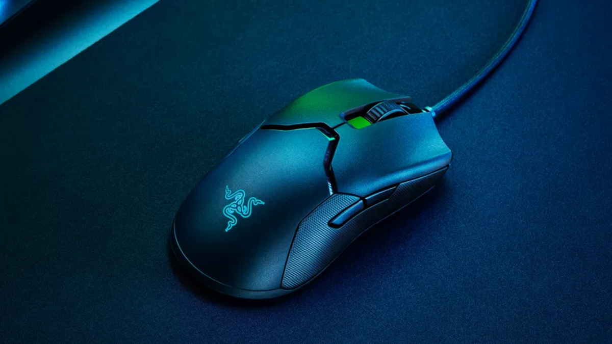 Razer Viper 8K gaming mouse with cool lights shining on it