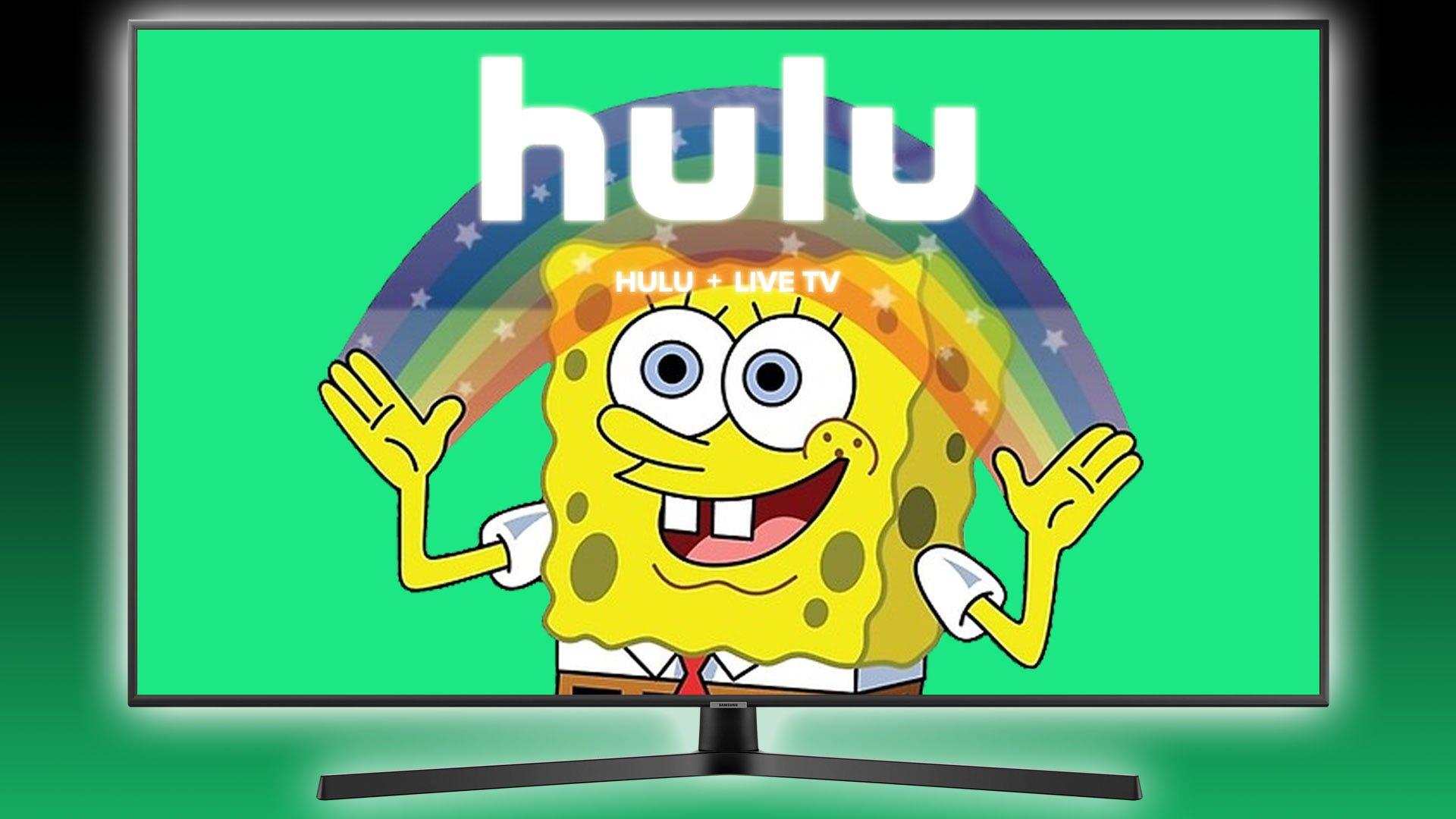 SpongeBob Squarepants e arcobaleno con logo Hulu sovrapposto su di lui.