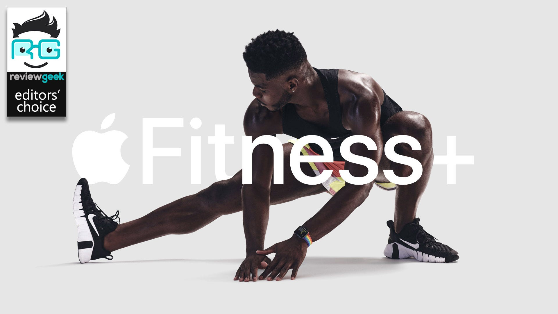 The Apple Fitness+ logo with a black man working out