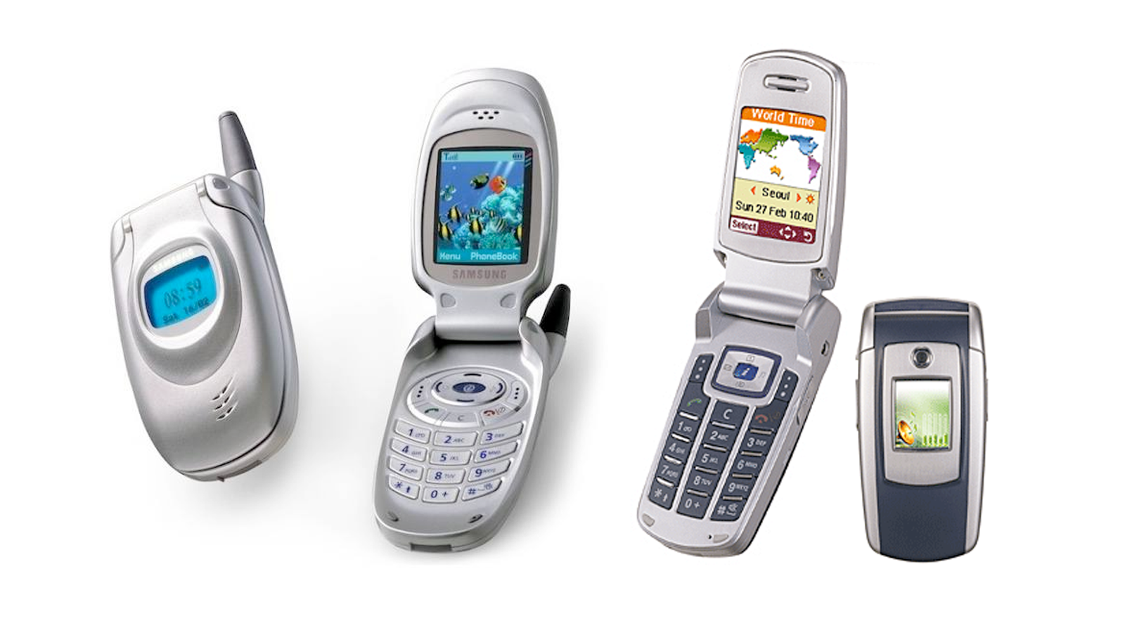 A photo of nycall T100 (SCH-X430 in the US) and Anycall E700 (SG-E700) cellphones.