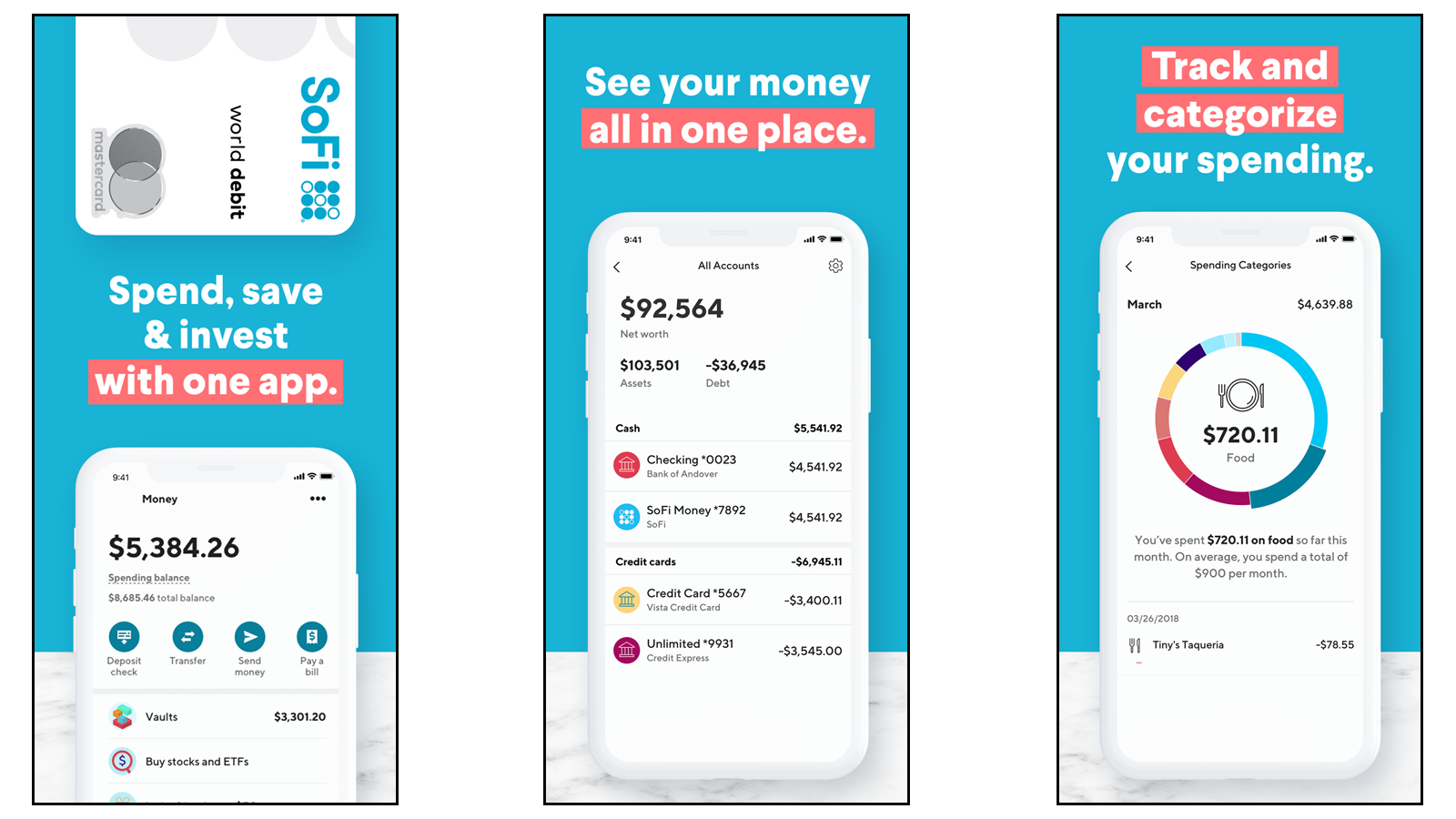 SoFi app with money management options