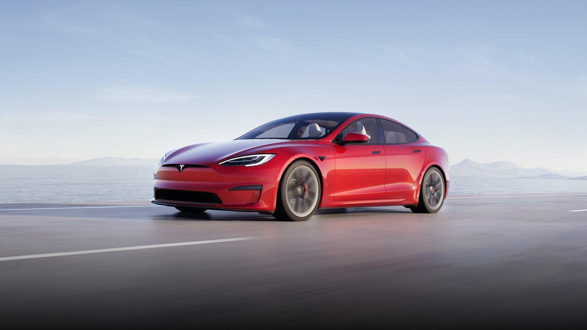 A red Tesla Model S car.