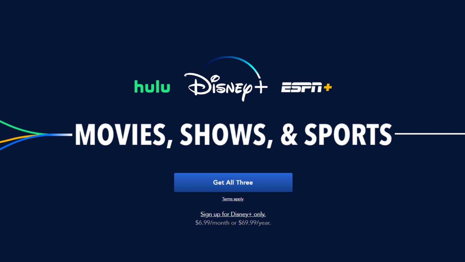 "The ""Disney Bundle"" promotional page"