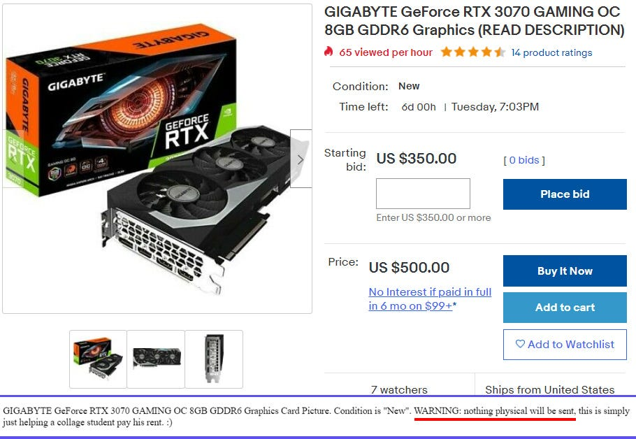 Fraudulent eBay listing for an NVIDIA graphics card