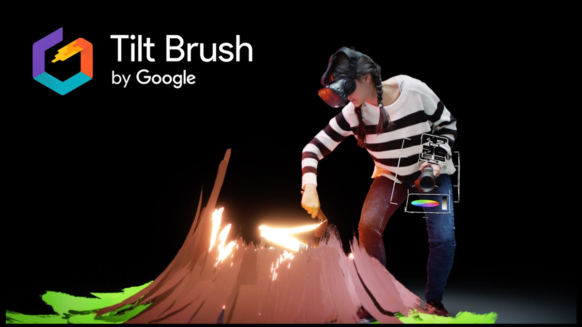 An artist drawing in the Tilt Brush VR enviornment.