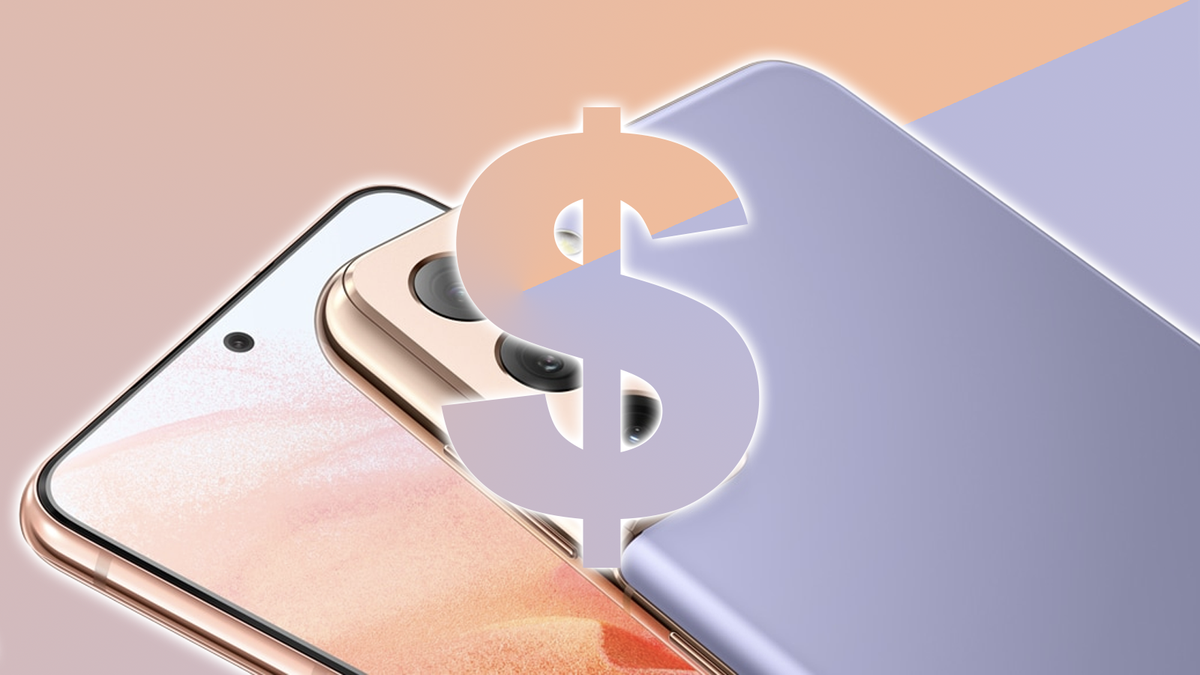 A photo of the Galaxy S21 and a dollar sign.