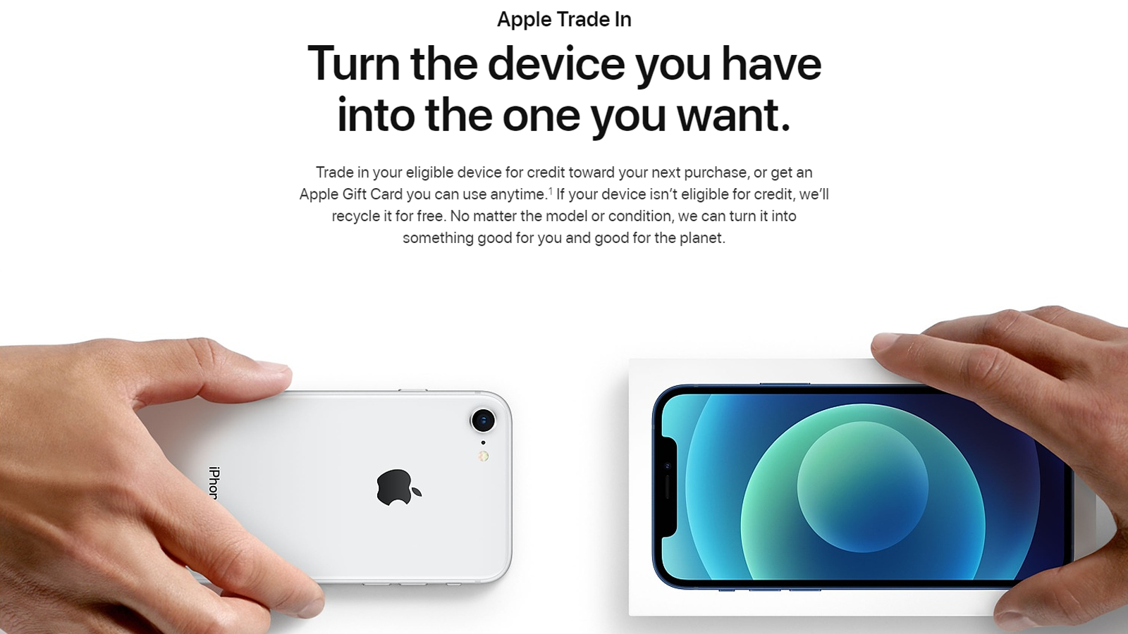 Apple Trade In program picturing two phones being held