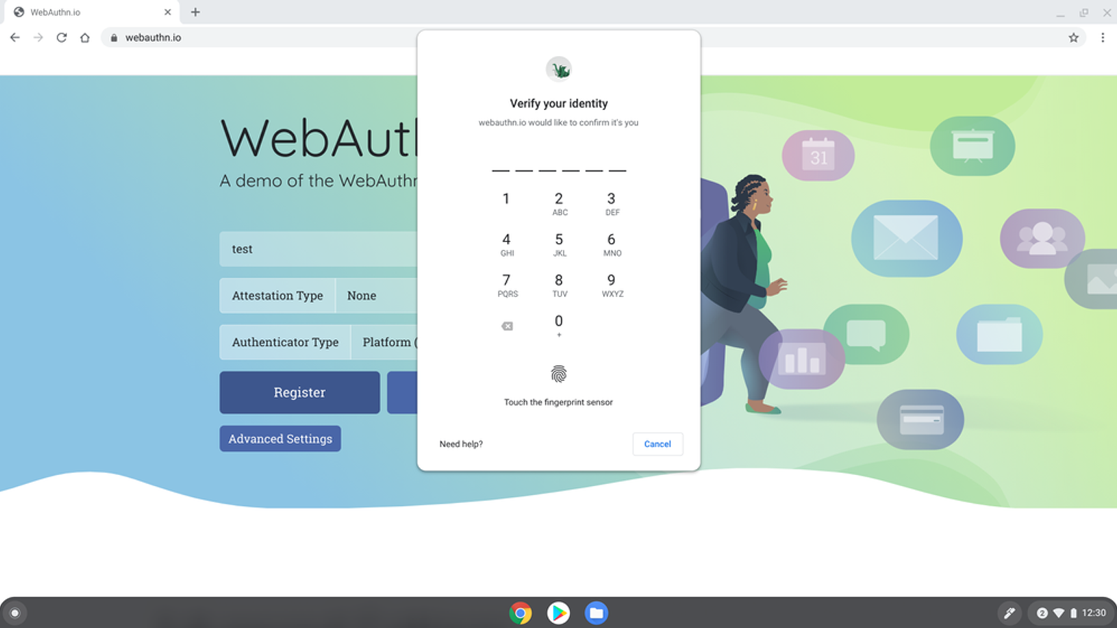 An illustration of WebAuthn login on ChromeOS.