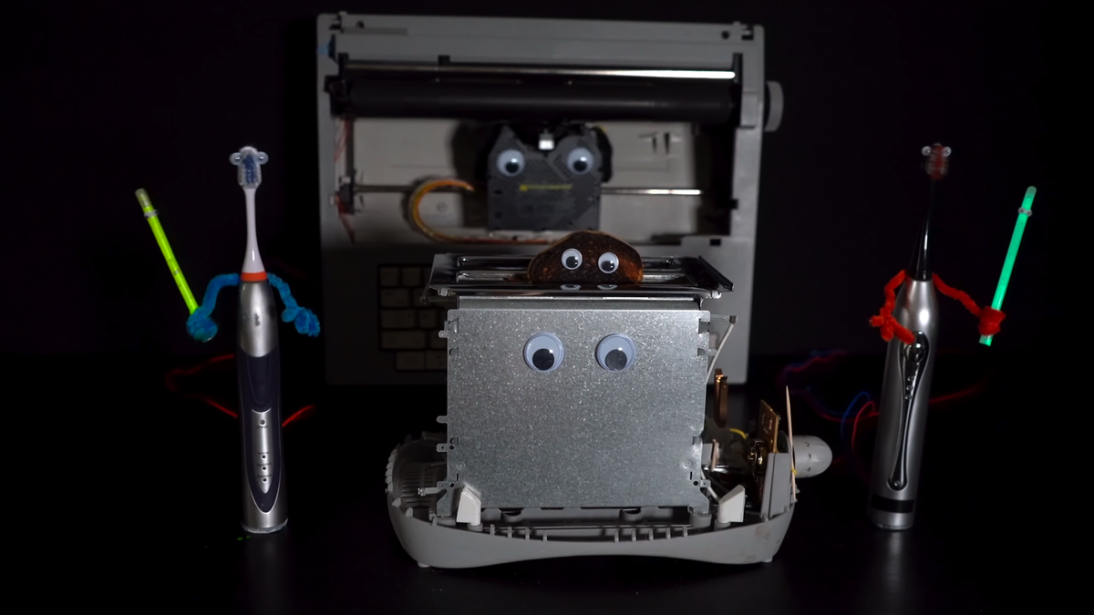 A photo of the toaster, toothbrushes, and typewriter used to perform Device Orchestra's 'Imperial March.'