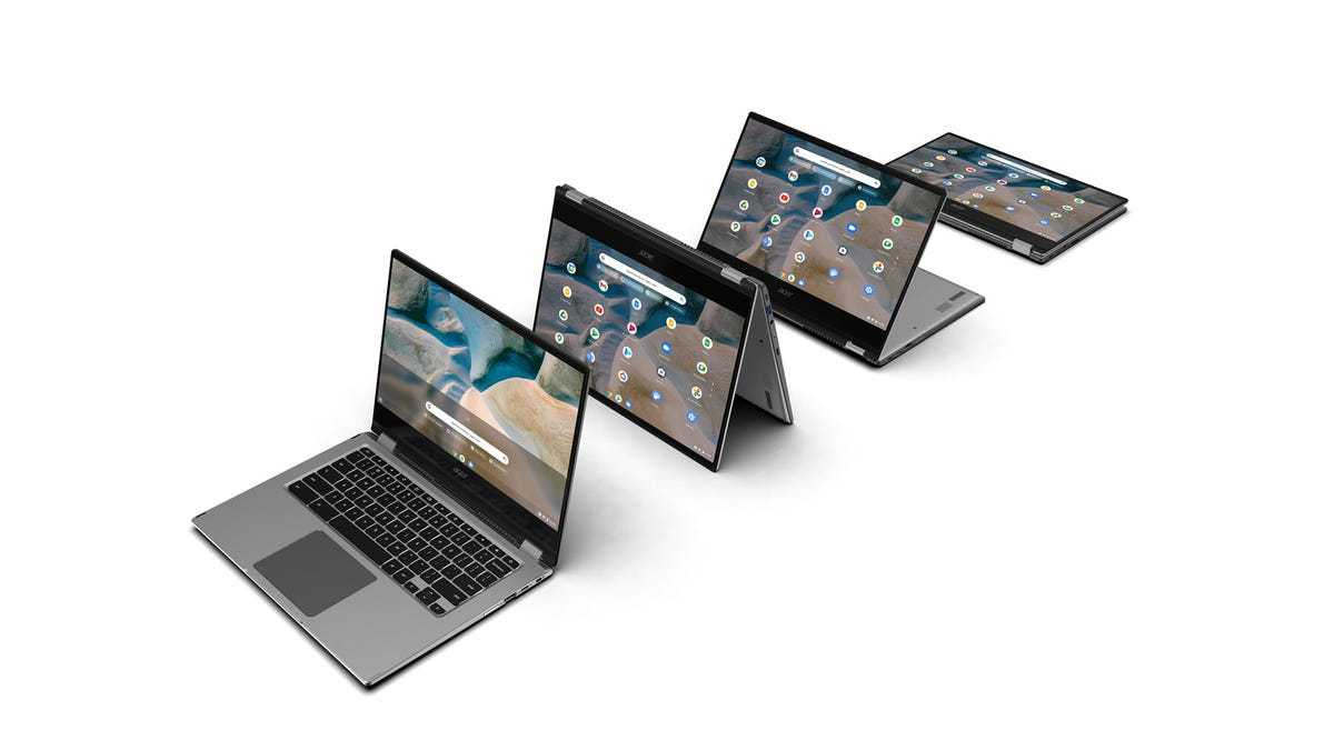 A Chromebook Spin 514 in several foldable positions.