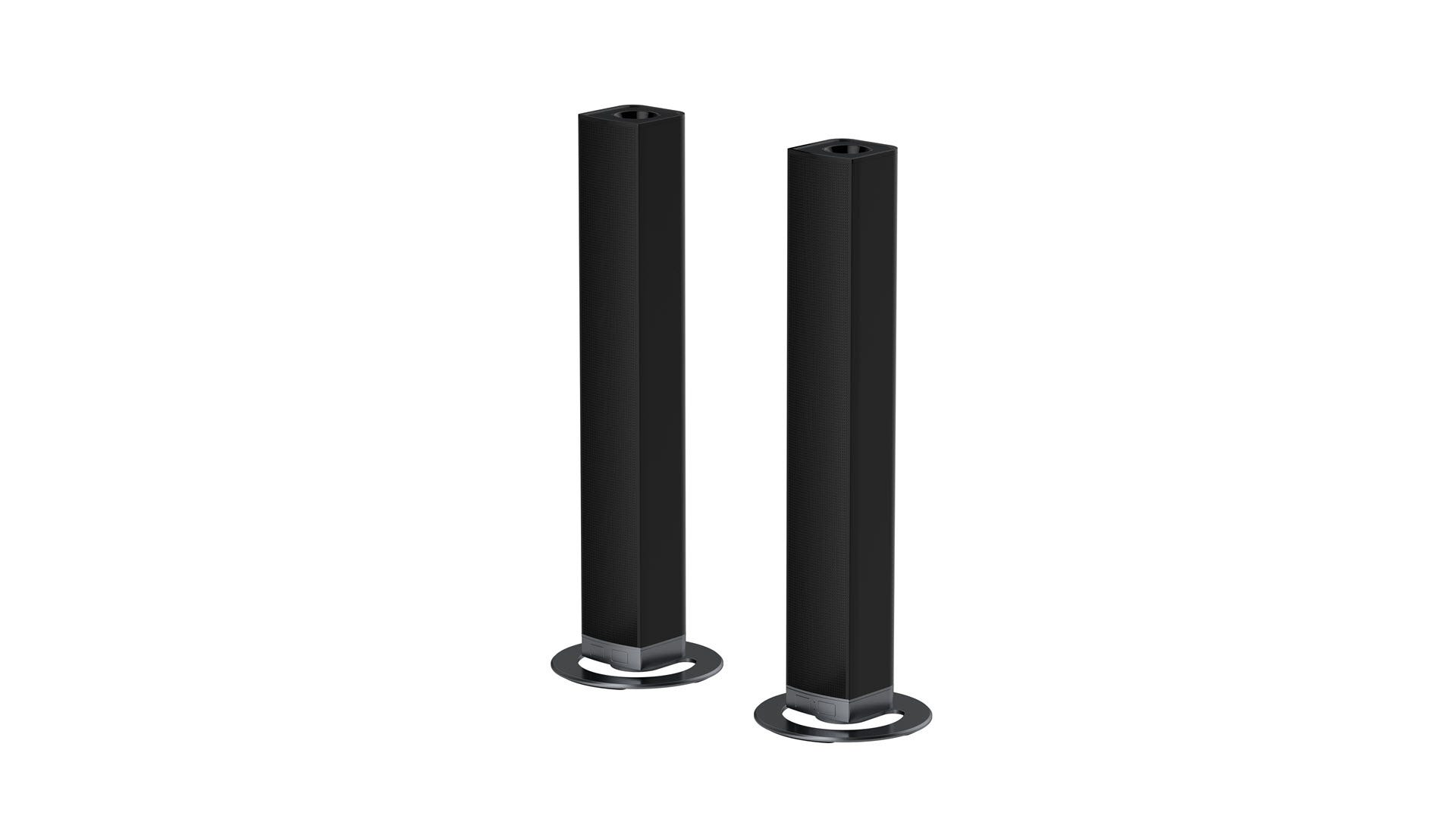 A soundbar split into two pieces.