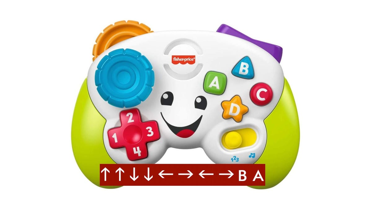 """A Fisher-Price infant """"gaming controller"""" with the Konami code next to it."""