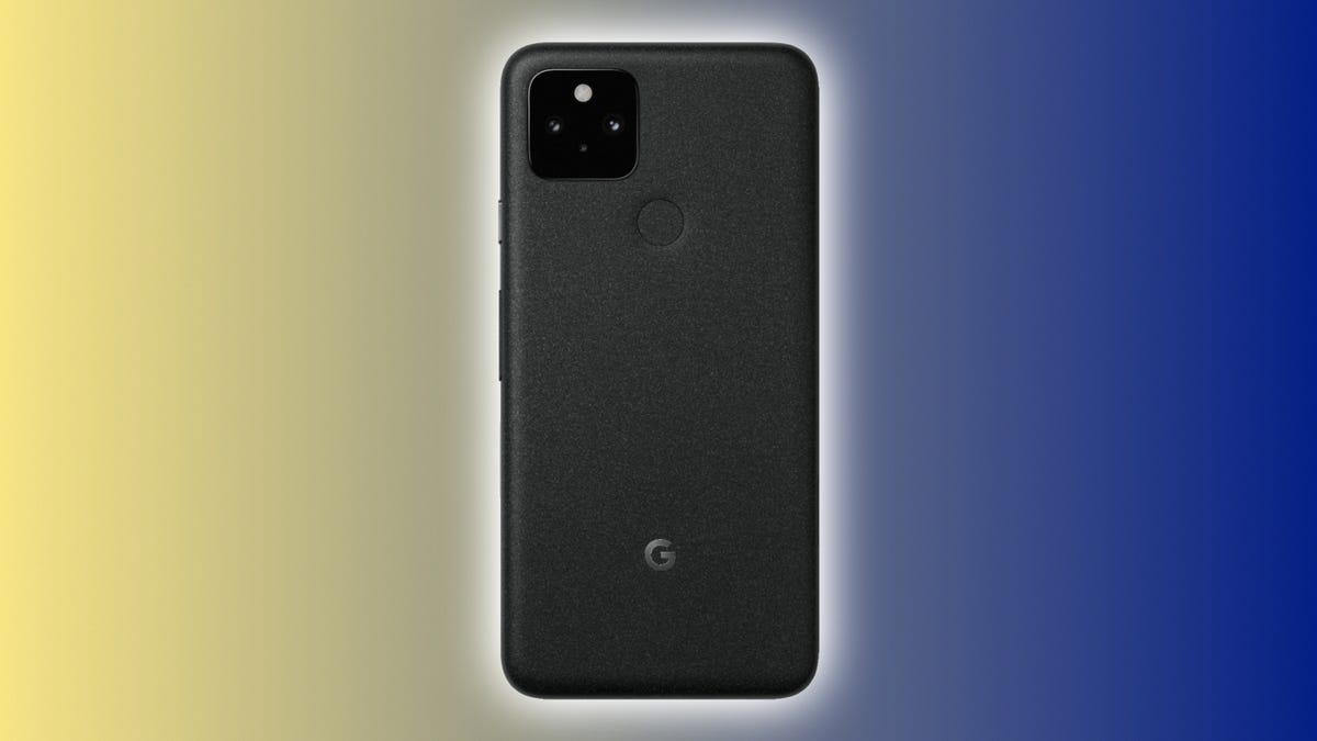 Google Pixel 5 on a blue and yellow backdrop