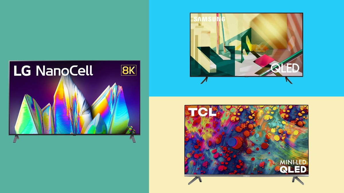 LG 65NANO99UNA, SAMSUNG Q70T, and TCL Series 6 TVs on multi-colored background.