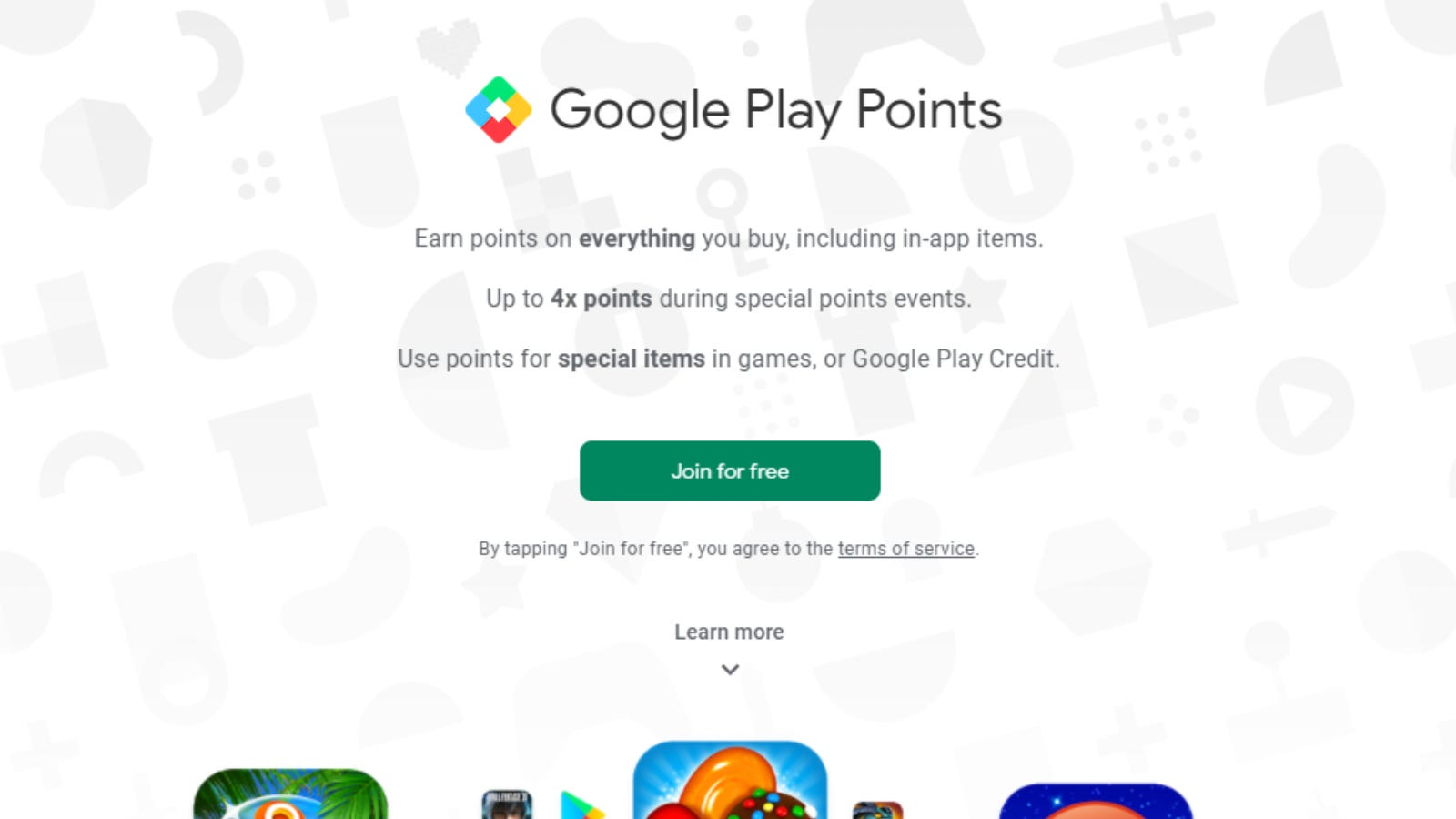 """Google Play Points """"Join Now"""" page"""
