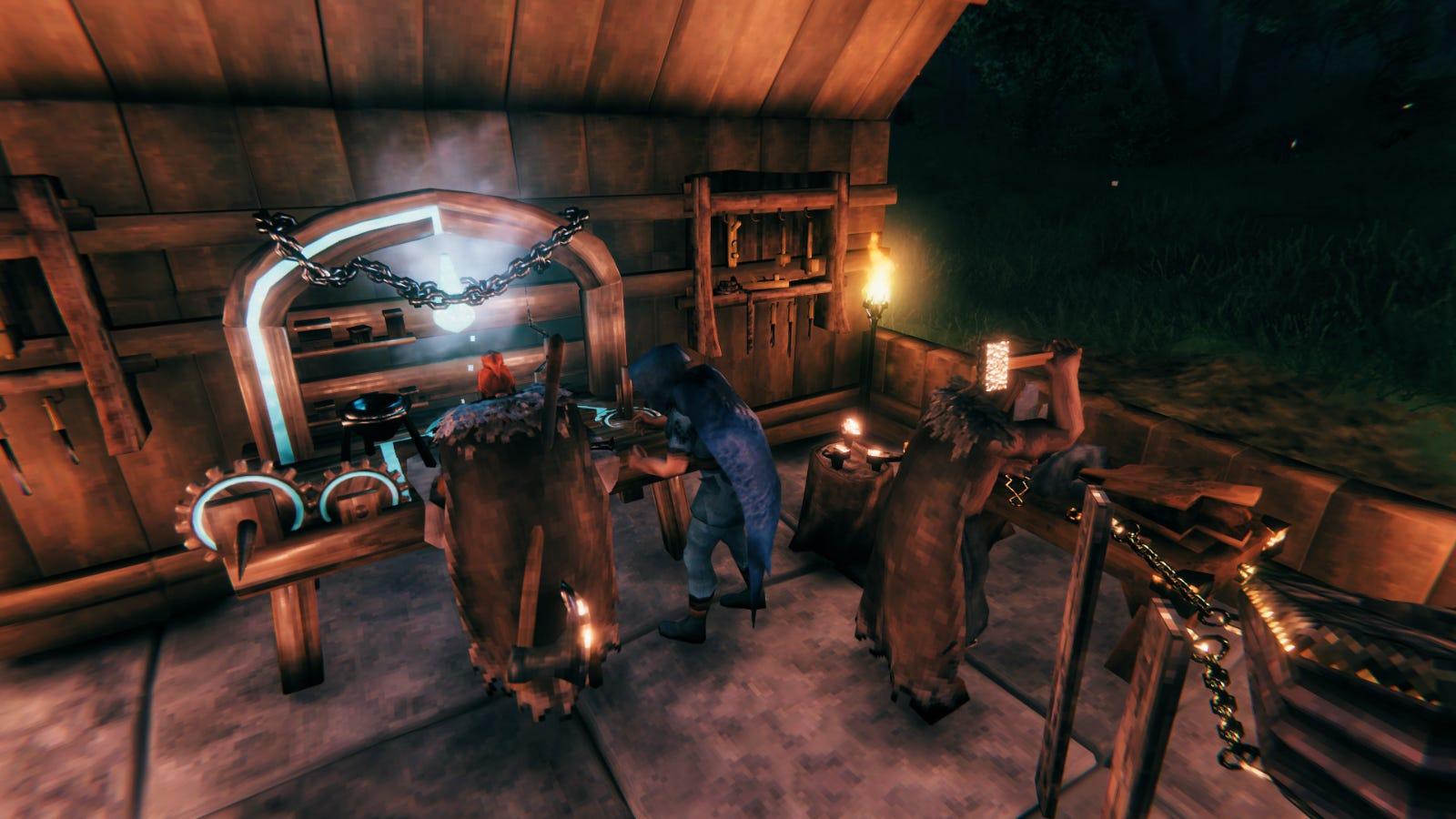 Three player characters in 'Valheim' crafting items at various crafting stations.