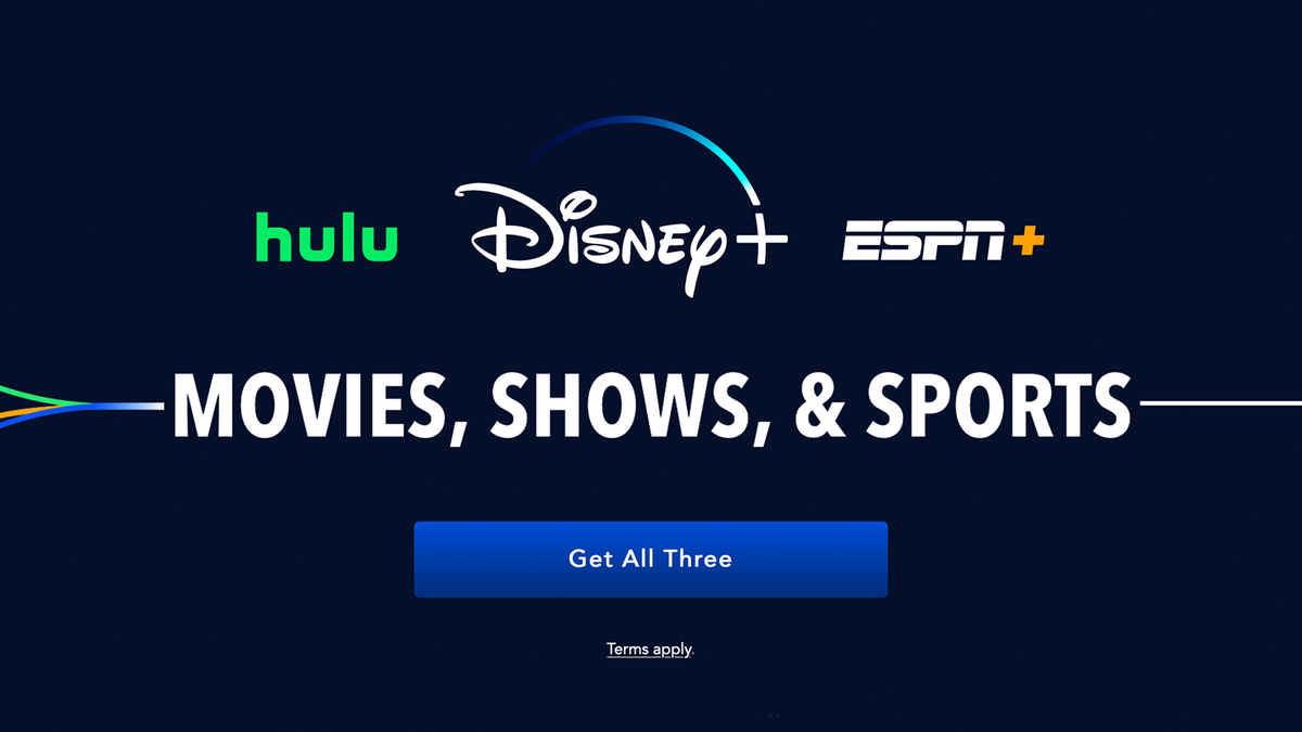An illustration of the Disney+, Hulu, and ESPN+ logos.