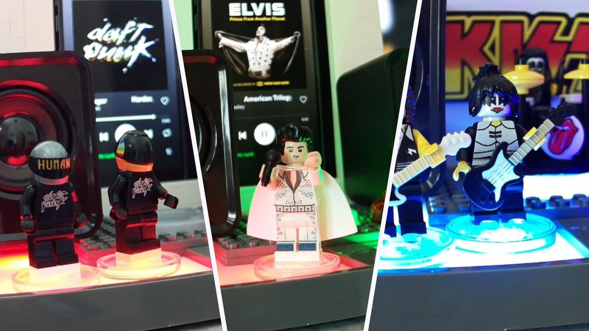 "Various LEGO Minifgs on a ""LEGO Dimensions"" portal."
