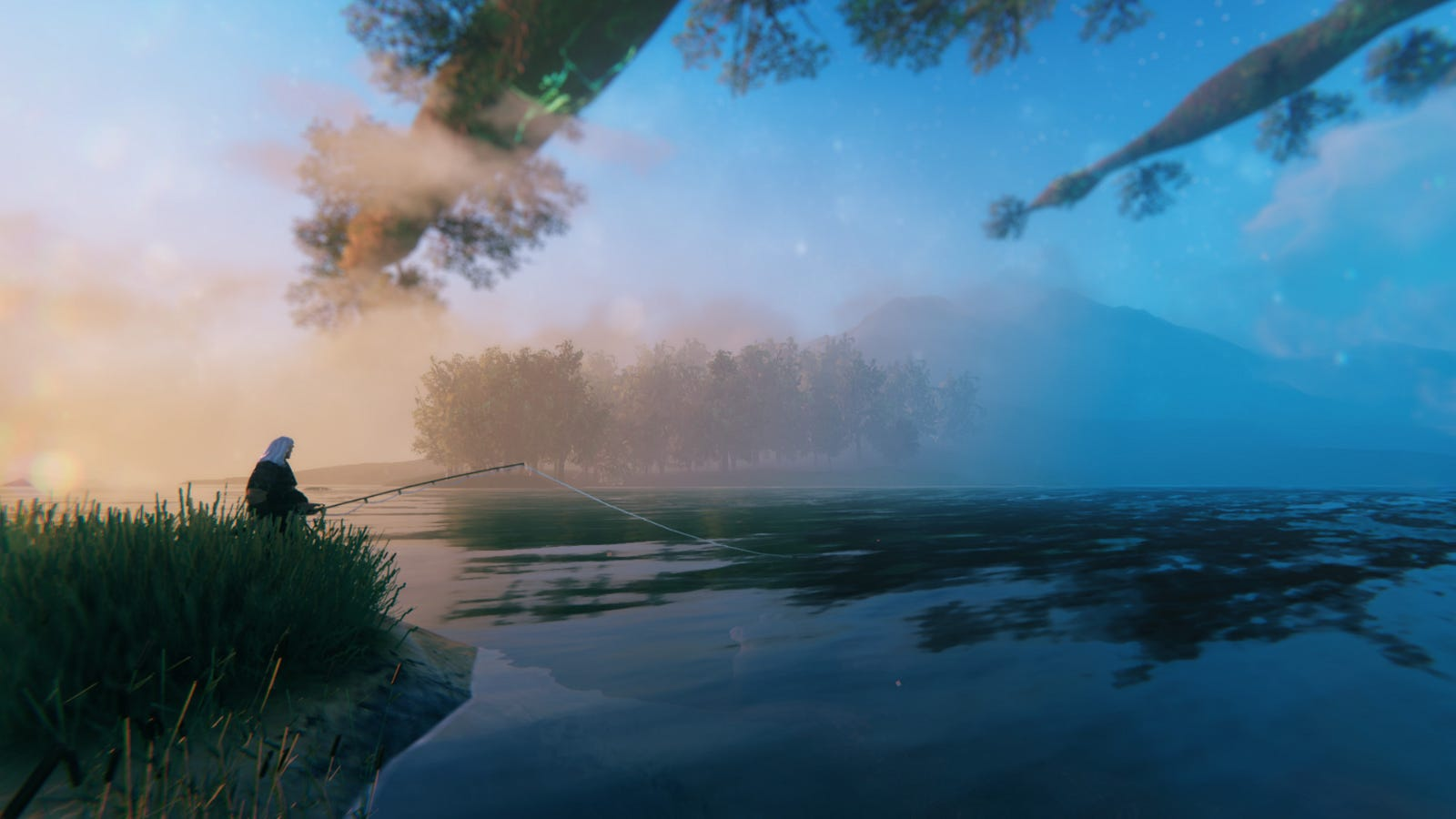 A player character fishing in a lake in 'Valheim'