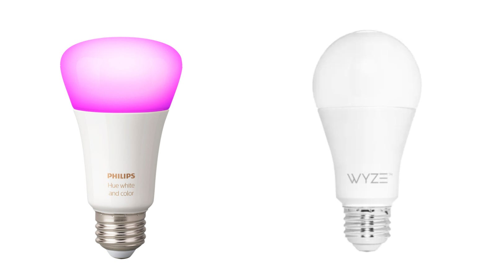 Phillips Hue colored bulb and standard Wyze bulb against a white background