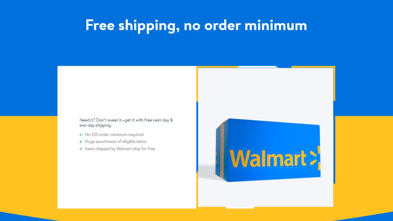 Walmart+ page on free shipping