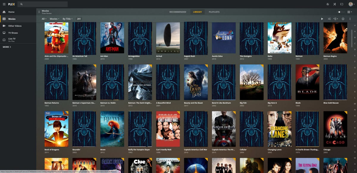 A Plex Server filled with movie titles and Hacker bug icons