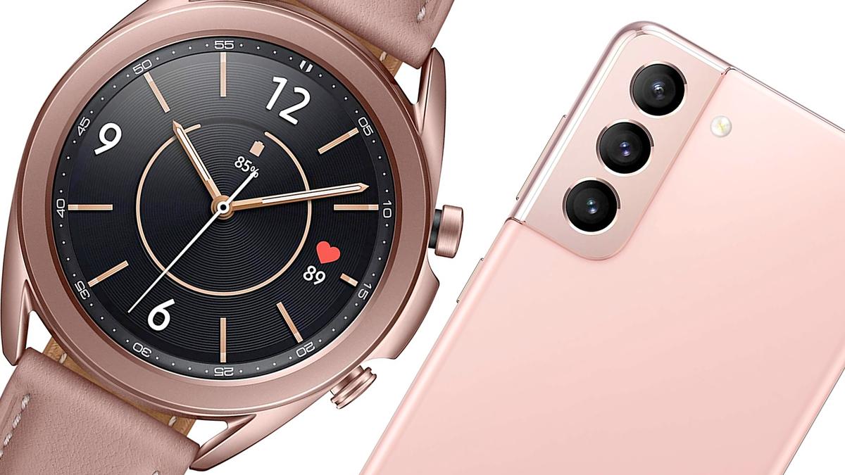 The Galaxy Watch 3 and Samsung Galaxy S21 smartphone.