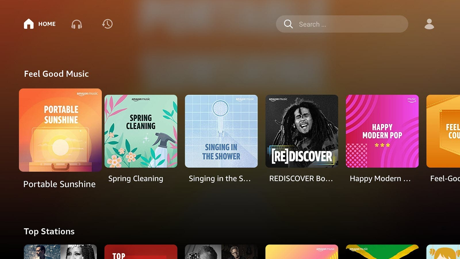 The Amazon Music Chromecast app, showing songs from various artists.