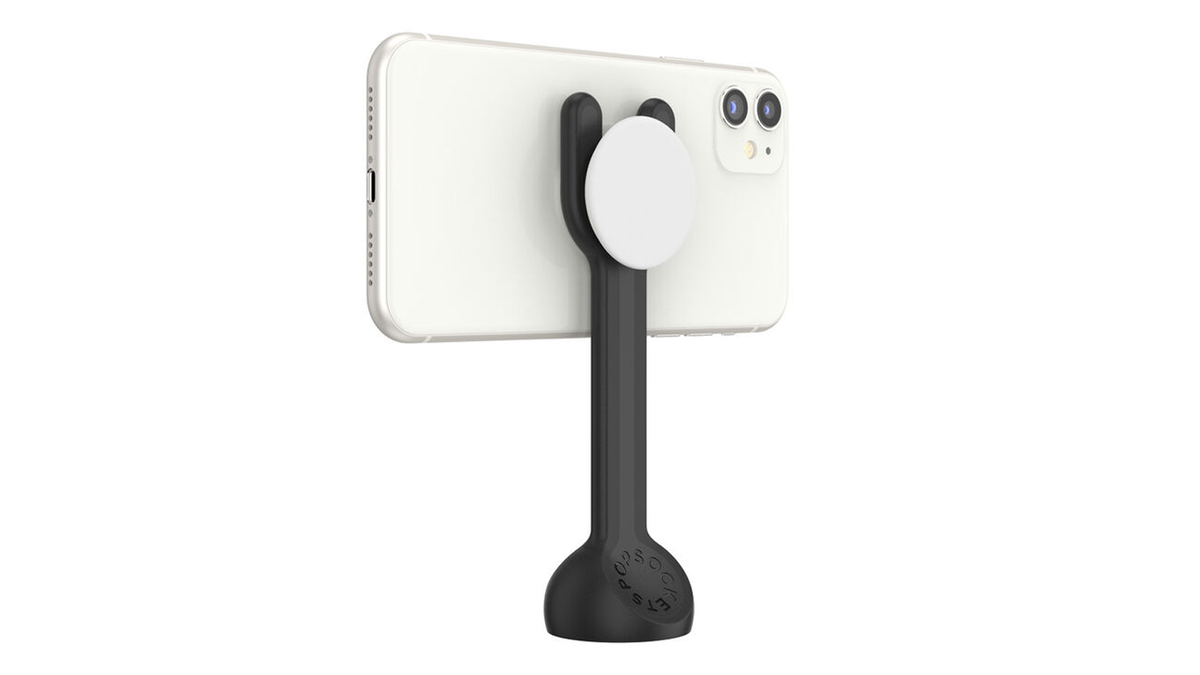 The PopMount 2 Photo holding an iPhone in landscape orientation.
