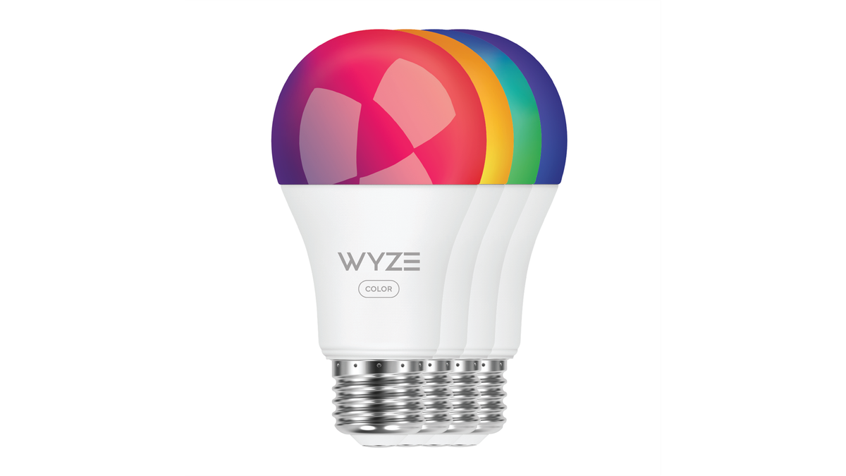Four Wyze Bulb Colors glowing in Red, Yellow, Green, and Blue.