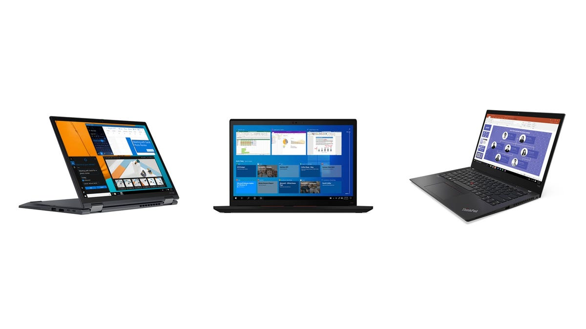 A Lenovo ThinkPad X13 Yoga, T14s, and X13 side by side.