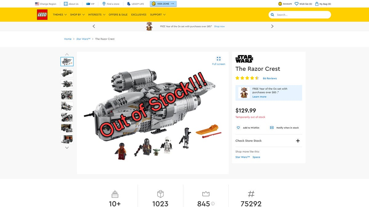 The LEGO site with a giant out of stock notification set on a LEGO Razer Crest.