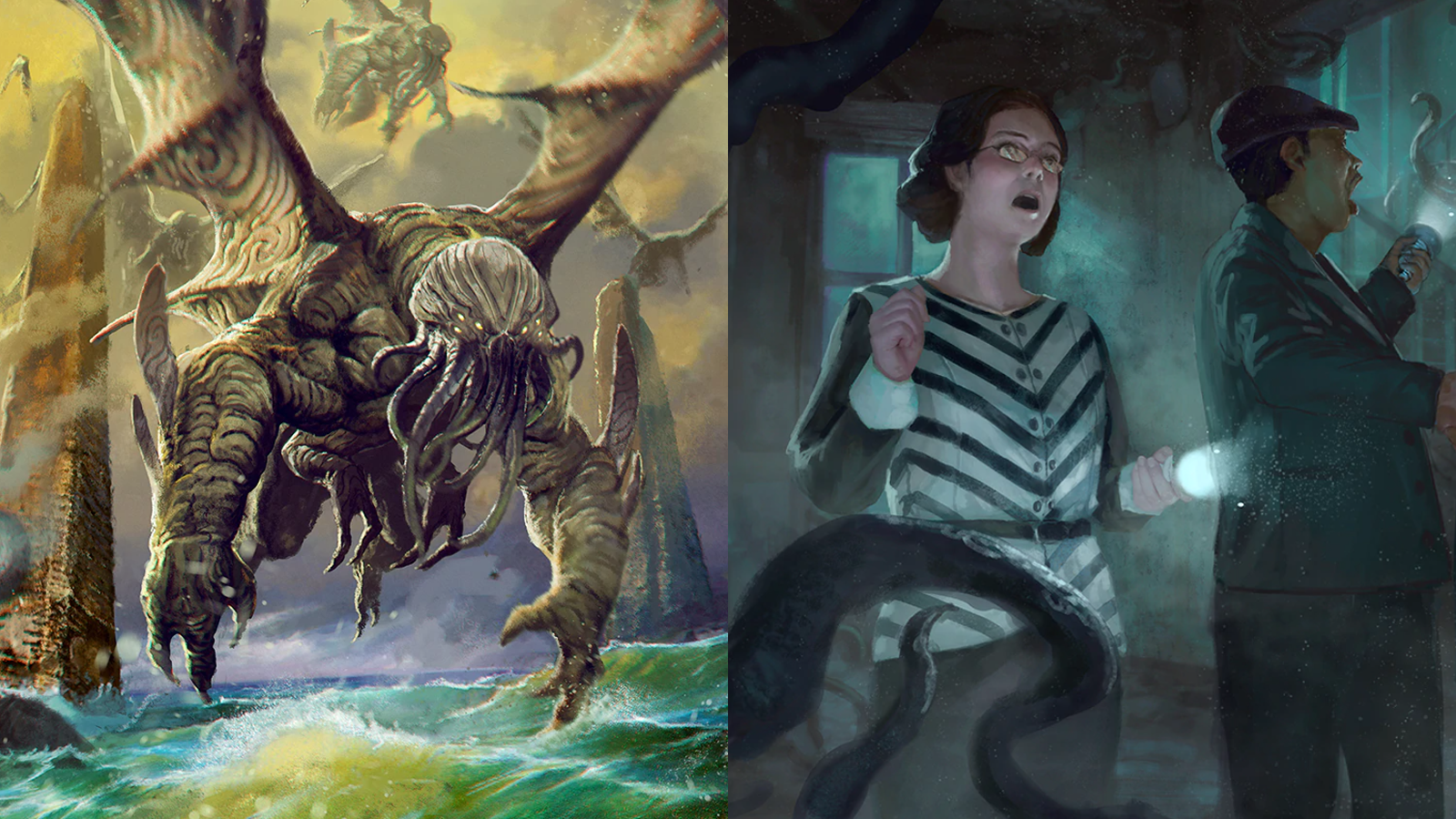 Call of Cthulhu RPG game art of Cthulhu and scared investigators