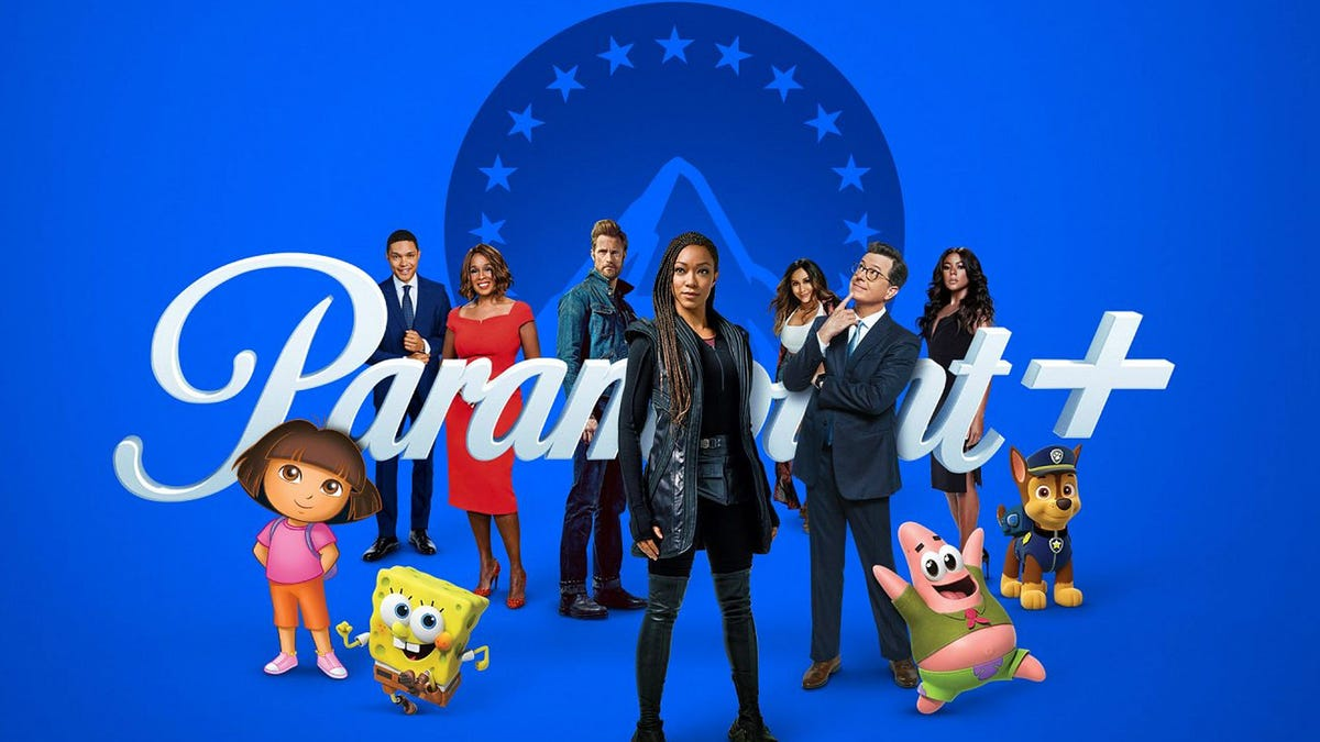 Characters from various ViacomCBS shows standing in front of the Paramount logo.